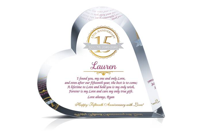 Crystal Heart 15th Anniversary Gift