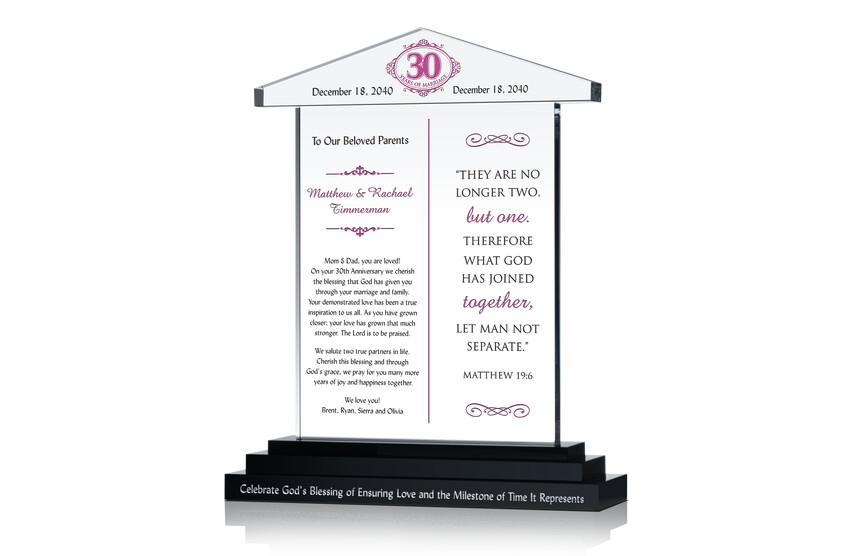 30 Years Anniversary Gift to Parents
