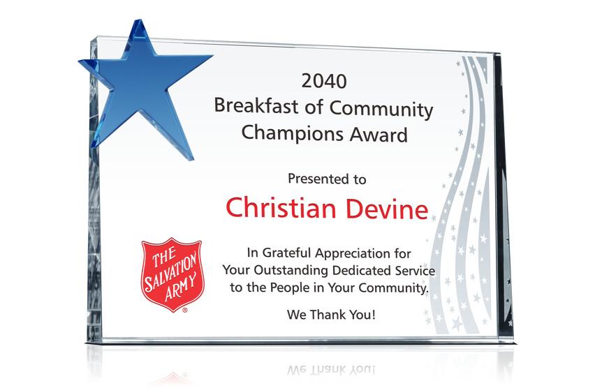 Community Champions Award Plaque