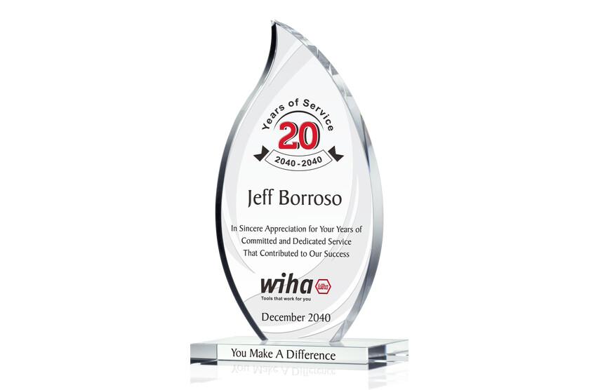 Flame Shaped Employee Long Service Award Trophy