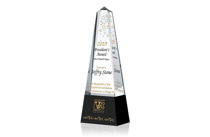 Crystal Obelisk Shaped Employee Recognition Award Tower