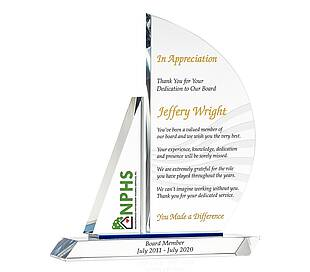 Crystal Sailboat Executive Retirement Gift Plaque