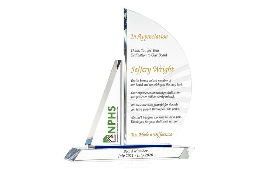 Crystal Sailboat Departing Board Member Appreciation Gift Plaque