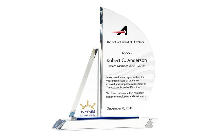 Crystal Sailboat Board Member Service Recognition Award Plaque