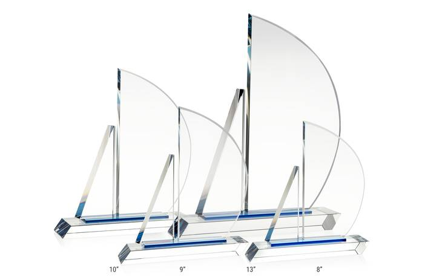 Crystal Sailboat Award Plaque
