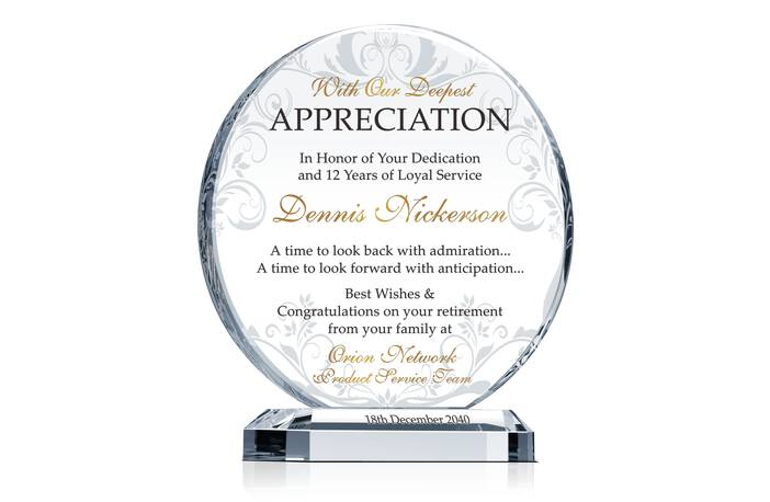 Circle-Shaped Crystal Employee Retirement Appreciation Award Plaque