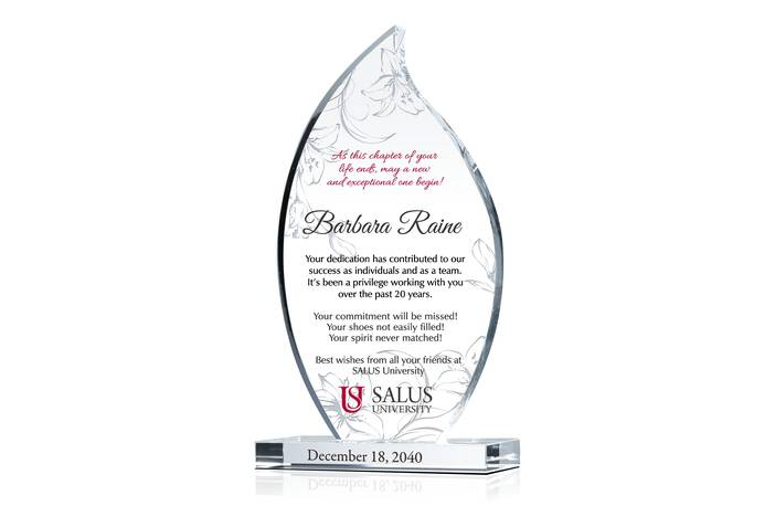 Flame-shaped Crystal Coworker/Manager Farewell Gift Plaque