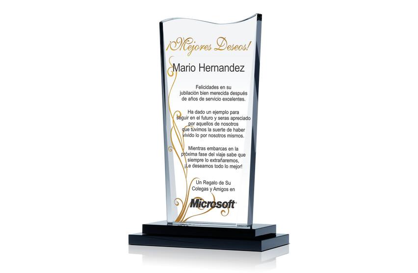 Premio de Cristal Ondulado de Mejor Deseos Para Jubilación de Empleado