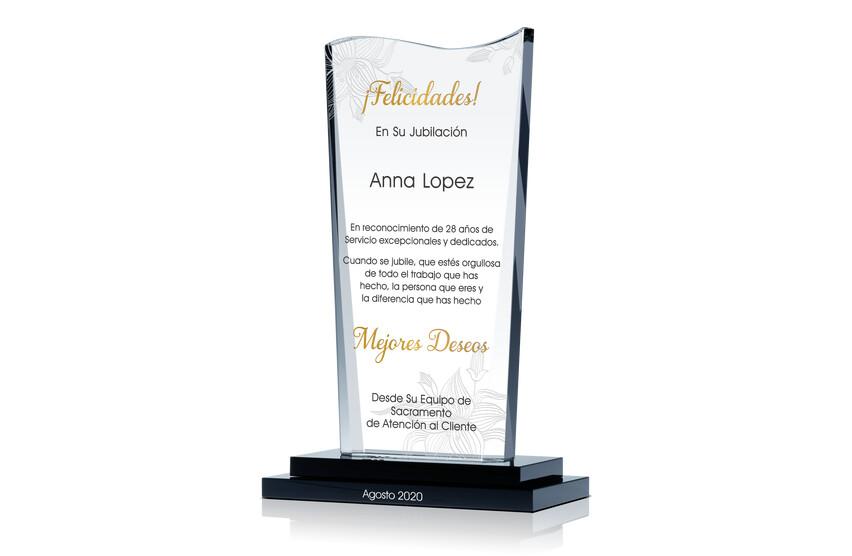 Placa de Cristal de Felicidades En Jubilación Para Compañera de Trabajo