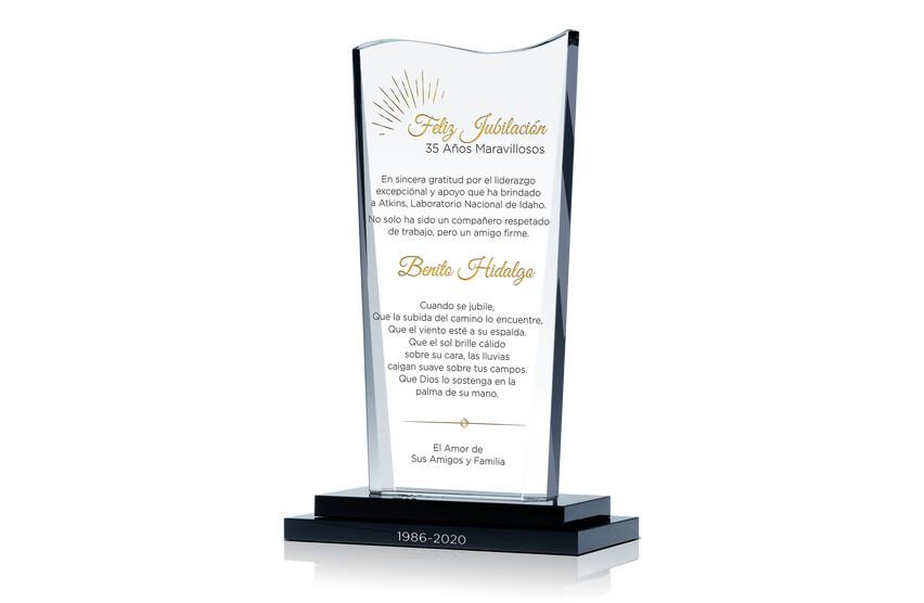 Premio de Cristal Ondulado Para Servicio de Jubilación