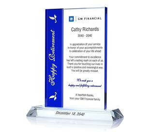 Crystal Retirement Gift Plaques