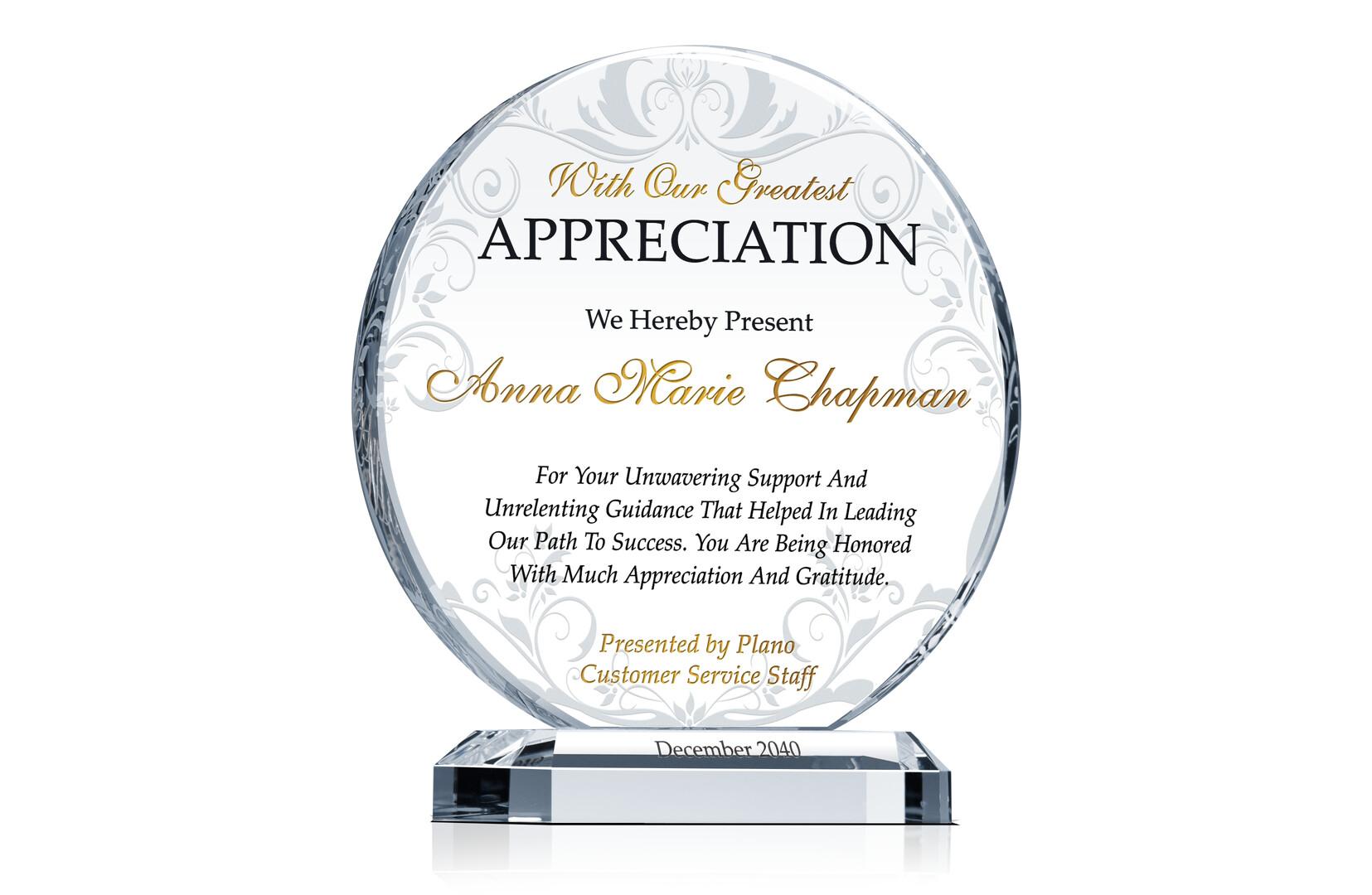 Circle Service Appreciation Plaque