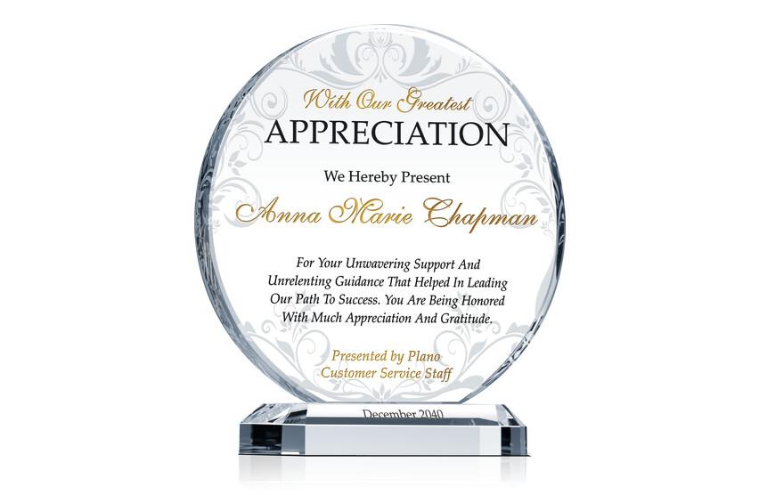 Circle Shaped Employee Appreciation Award Plaque