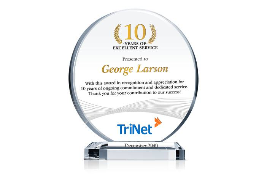 Circle Employee Service Appreciation Award Plaque