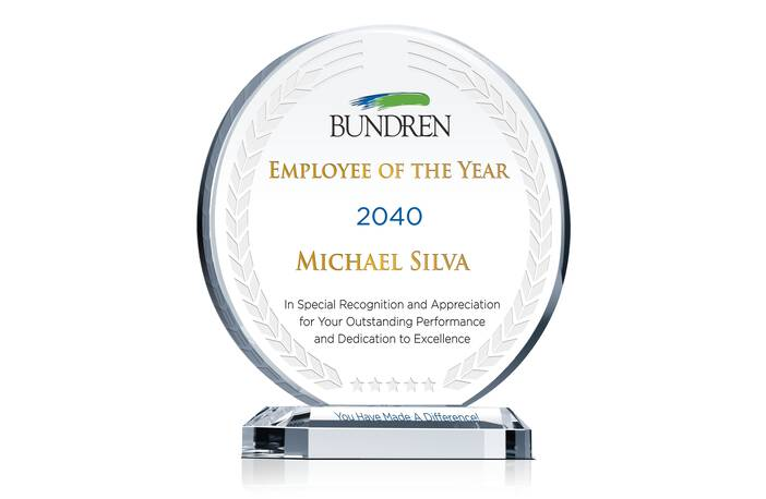 Crystal Circular Shaped Employee Recognition Award Plaque