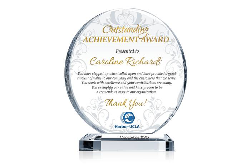 Crystal Employee Achievement Award Plaque